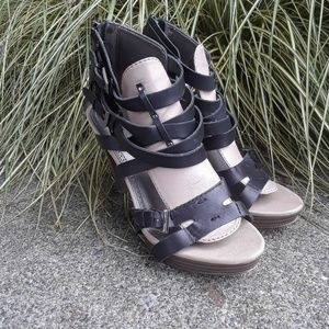 Sam Edelman Boutique strappy wood heels